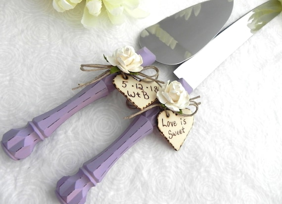 Rustic Chic Wedding Cake Server And Knife Set, Lavender with Ivory Flower and Personalized Wood Hearts, Bridal Shower Gift, Wedding Gift