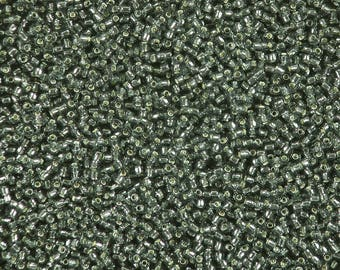 size 11, gray, silver lined, glass seed beads-8 grams-Lot 56