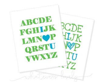 Alphabet Love Printable - Blue and Green