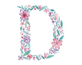 D Uppercase d | Letter, typographic, alphabet. Wall art, print, gift, watercolour, floral