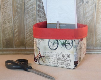 Cream and Red Bicycle and Postcard Themed Fabric Basket For Storage or Gift Giving