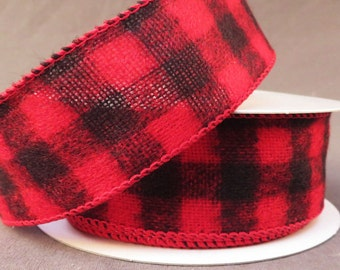 Buffalo plaid wired ribbon, buffalo plaid ribbon, buffalo plaid, Christmas ribbon, wired edge ribbon, wired ribbon, wired ribbon by the roll