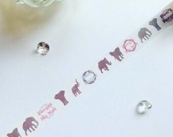 Elephant Washi Tape // Elephant Silhouette // Forget Me Not // Masking Tape // Planner Decoration