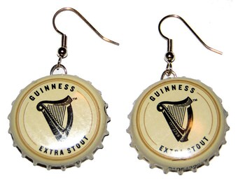 Guinness Beer Bottle Cap Earrings Jewelry - From actual Bottle Caps