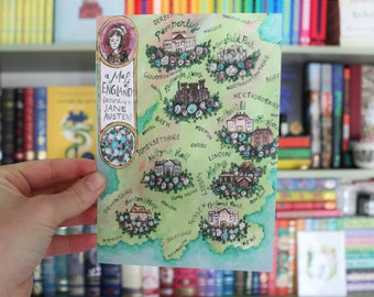 Map of England (According to Jane Austen) ART PRINT