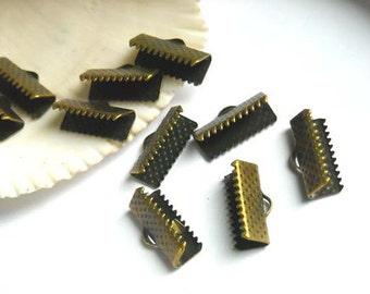 20 Antique Bronze Crimp Ribbon End Caps - 16mm -  5-11