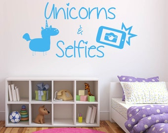 Unicorns, and Selfies, Fairytale, Selfie, Photo, Fun, Wall Art Vinyl Decal Sticker
