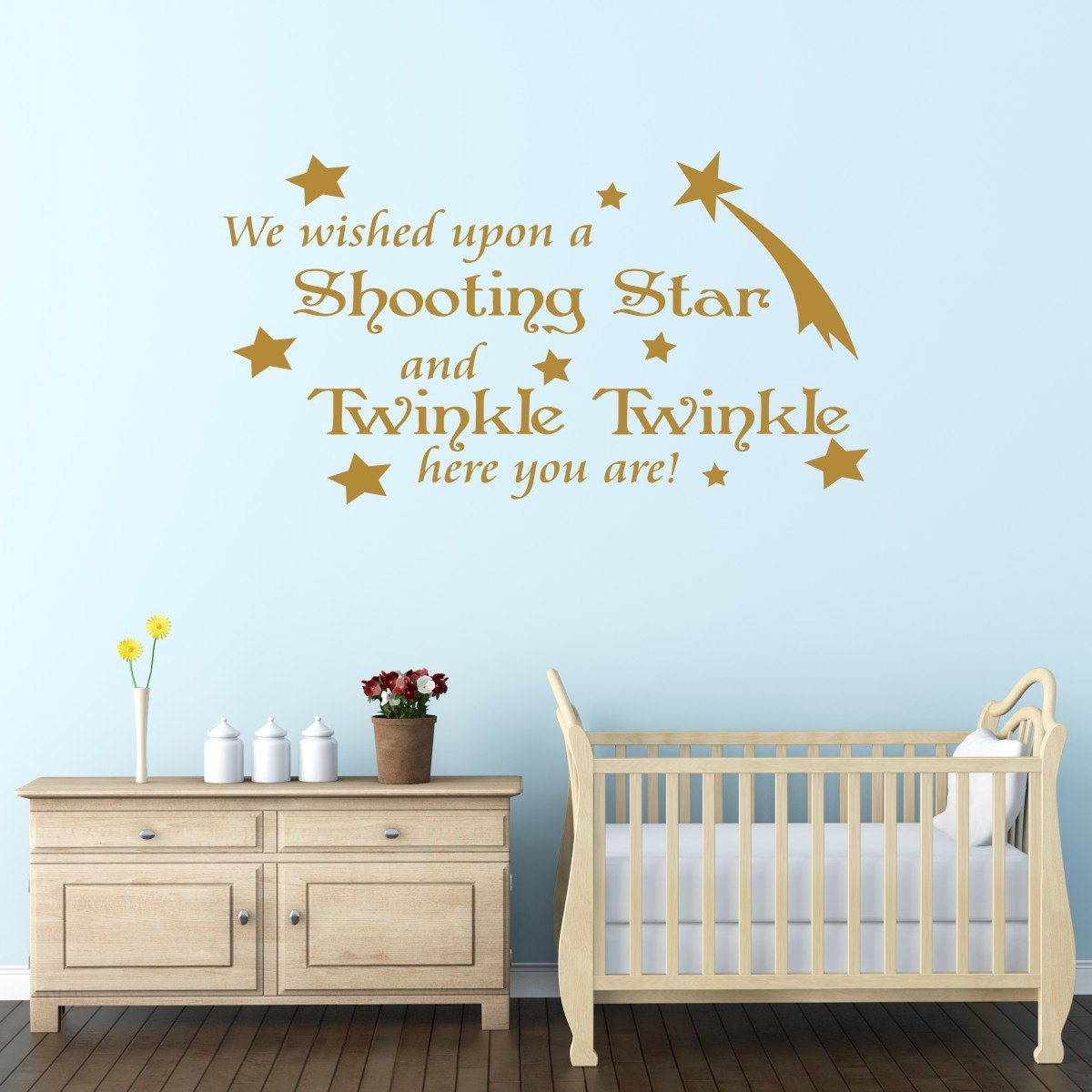 We Wished Upon A Shooting Star Nursery Wall Sticker Quote - Wall decals beach quotes