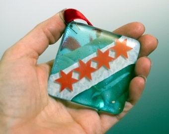 Fused Glass Chicago Flag Ornament, Chicago Square Xmas Decoration, Chicago Tree Decor