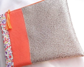 Evening clutch, gold and orange wallet, makeup pouch