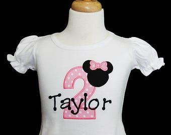 Minnie Mouse Birthday Number Shirt, Minnie Birthday Shirt, Minnie Mouse 2nd Birthday Shirt, Custom Minnie Mouse Birthday Shirt, Any Age