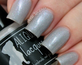 Nightingale's Song - 15 ml - grey scattered holo with color-shifting flecks and iridescent glitter - indie polish by ALIQUID Lacquer