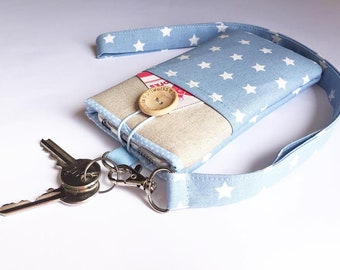 Blue phone pouch Lanyard stars fabric,  iphone 6 plus sleeve, iPhone 8 case Lanyard, iPhone SE fabric case,  iPhone 8 Plus Pouch Lanyard