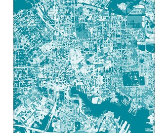 Baltimore Cityscape Art Print / Maryland City Map Wall Art / 8x10 / Choose your Color