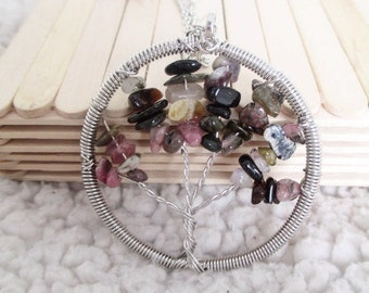 Many colors Tree of Life Pendant Necklace mix of colored stones semi precious natural agate and chain