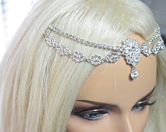 First communion-Flower Girl Headpiece, girl forehead band, rhinestone forehead chain, forehead brooch