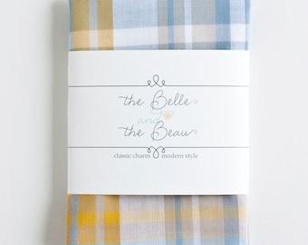 Pocket Square, Handkerchief, Mens Pocket Square, Boys Pocket Square, Wedding Pocket Squares - Steel Blue, Grey, And Mustard Madras Plaid