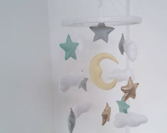 Mint, gold and light grey Stars, moon, clouds and moon nursery mobile