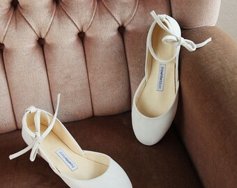 The Wedding Ballet Flats in Ivory Nubuck | Leather Lace Up Bridal Shoes  | Ivory Nubuck | Ready to Ship