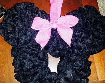 Minnie Mouse Inspired Burlap Wreath