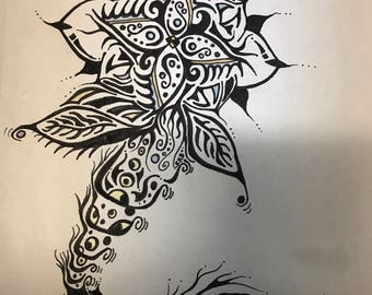 """Original Pen and ink drawing """"Swimming Flower"""""""