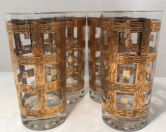 Vintage Bar Ware Drinking Highball Glasses 4 PC Set 1950s -60s 24Kt Gold Plated Vintage Chic