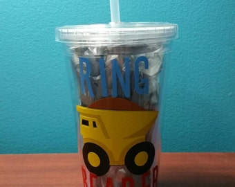 Ring Bearer Dump Truck Personalized with Name Tumbler Cup Wedding Gift