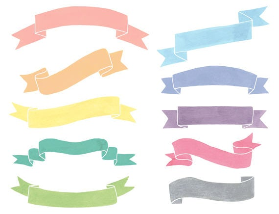 10 watercolor cliparts ribbons clipart banners clipart flags rh etsystudio com banners clipart free clip art banners border ribbon scroll