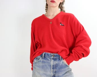 Vintage V-Neck Sweater / 80's Slouchy Pullover / WINONA KNITS Minnesota Loon Shirt / Large