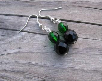 Emerald Green and Black Glass Beaded Earrings