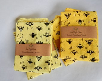Honey Bees Kitchen Towel, LIMITED Hand Dyed, Hand Printed, Natural Cotton