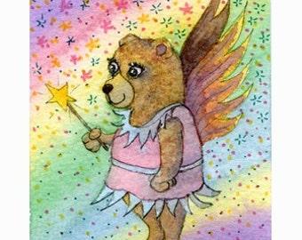 Teddy bear fairy godmother 10x8 inches print