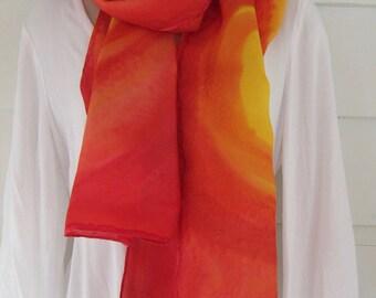 Hand-painted, acid dye, habotai silk scarf, 14 x 70 inches
