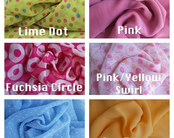 Chiffon Fabric Available in 6 Colors and Styles including Solids, Polka Dots, Circles and Swirls