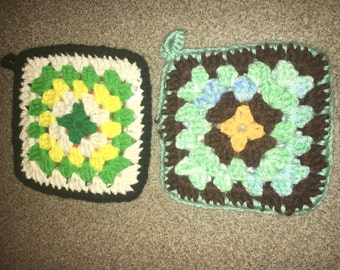 Vintage Country Potholders (2),  Decorative Woven Pot Holders, Brown Yellow Double-Sided Potholders, Thick Quality Pot Holders
