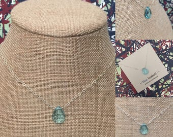 Sky Blue Topaz Quartz & Sterling Silver Necklace, Gemstone Necklace, Blue Quartz Necklace, December Birthstone