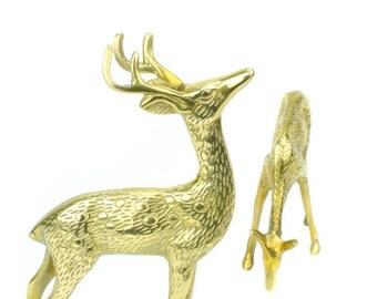 Brass Deer figurine, Brass Reindeer, Brass Buck & Doe, Mid Century Brass