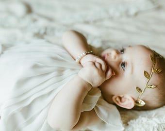Baby Girl Headband, Newborn Baby Headband, Gold Headband, Boho Headband, Baby Bows, Ivy Leaf Headband, Grecian Headband, Flower Headband