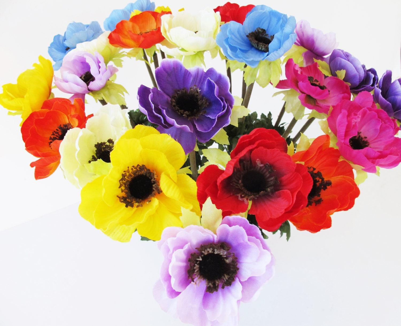 16 Silk Poppies Anemones Bouquet Artificial Flowers 8 Colors Poppy