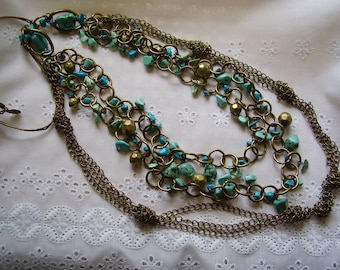 TURQUOISE STONE Brass Chain NECKLACE/3 Tiered