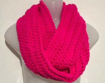 Neon Pink Crocheted Infinity Scarf/Winter Gear- Valentine's Day