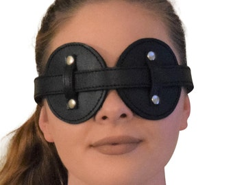 Genuine Leather Fleece-Lined Fully Adjustable Blindfold / Eye Mask
