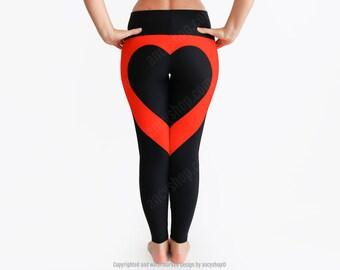 Heart Yoga Pants, Love Leggings, Heart Shape Leggings, Christmas Gift, Love Present, Love Gift, I Love You, Black Leggings, Heart Booty
