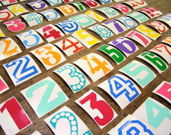 Colourful vinyl number wall stickers