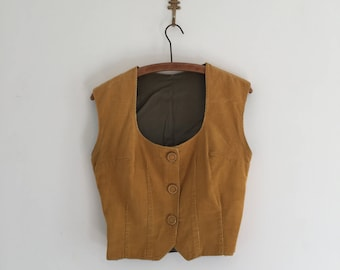 Vintage 70's Mustard Yellow Corduroy Vest Top M