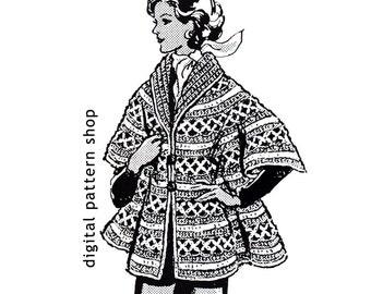 Crochet Cape Pattern 1970s Vintage Womens Cape Crochet Pattern Shawl Collar DIY Crochet Pattern Instant Download PDF Size 8 to 16 - C32