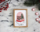 Merry Christmas card - Holiday card - Foliage - Vintage - Christmas scene with stockings - Tree and fireplace - Toronto - Snowglobe
