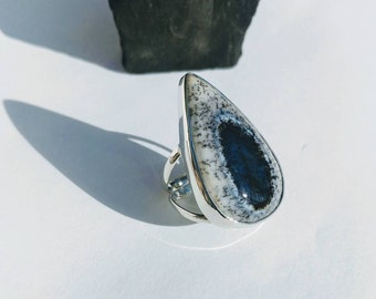 Sterling Silver Pear Shaped Merlinite Ring- Dendritic Opal Ring- Opal Ring- Women's Ring- Sterling Silver Ring- Size 6