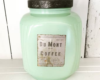Hazel Atlas Fired-On Jadite Jadeite Green Glass Du Mont Coffee Flour Canister