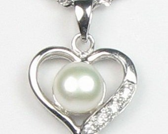 White pearl pendant, heart freshwater pearl necklace, 925 sterling silver pendant, pearl pendant bridal necklace for ladies, 7-8mm, F2035-WP